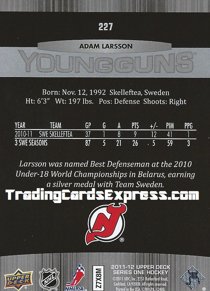 Adam Larsson Card 227 Upper Deck Series One New Jersey Devils 2011 - 2012 Back
