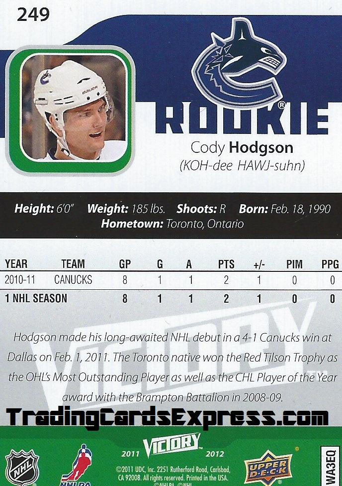 Cody Hodgson Card 249 Upper Deck Victory Vancouver Canucks 2011 - 2012 Back
