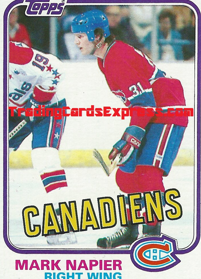 Mark Napier Card 23 Montreal Canadiens Topps Right Wing 1981 - Front