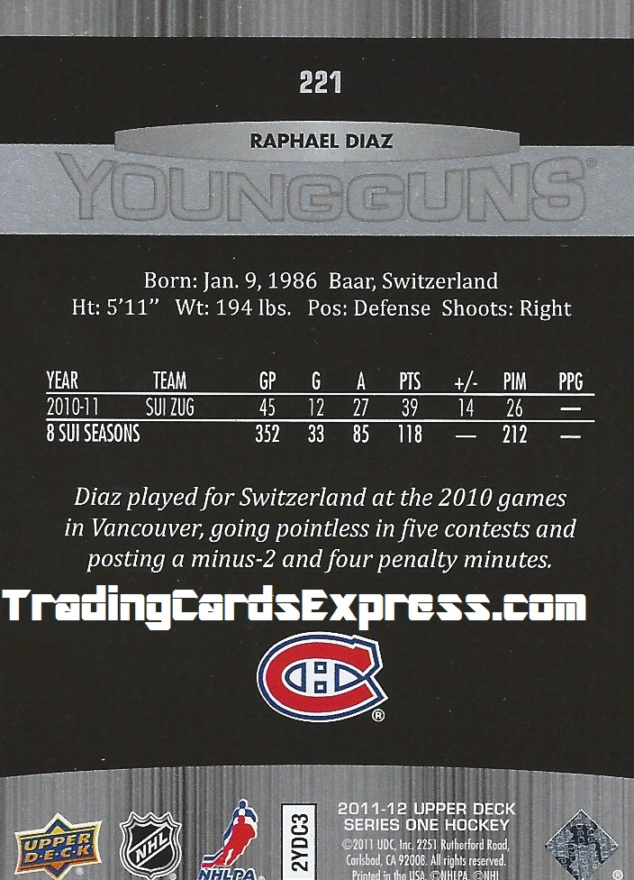 Raphael Diaz Card 221 Upper Deck Series One Montreal Canadiens 2011 - 2012 Back
