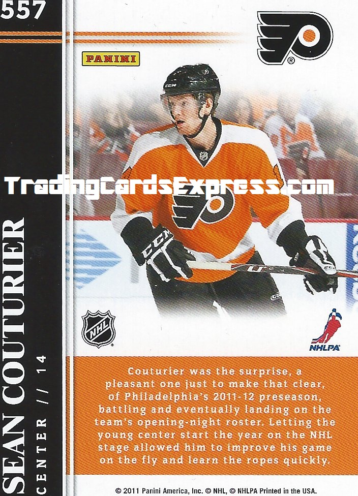 Sean Couturier Card 557 Panini Score Philidelphia Flyers 2011 - 2012 Back