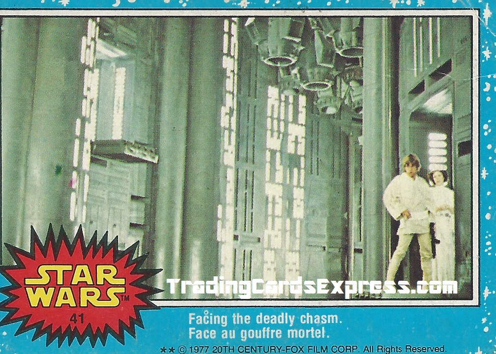 Star Wars - Facing The Deadly Chasm - Card 41 - 1977 - Front Side