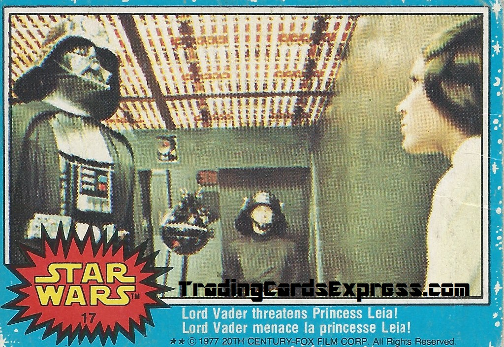 Star Wars - Lord Vader Threatens Princess Leia - Card 17 - 1977 - Front Side