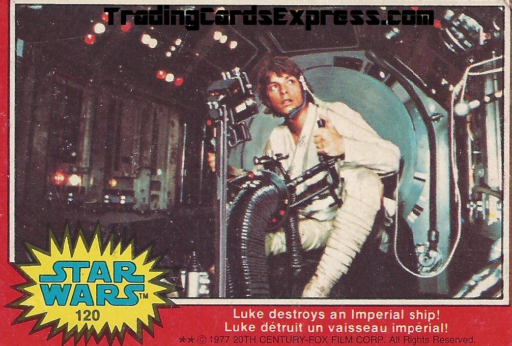 Star Wars Luke Destroys An Imperial Ship - Card 120 - Year 1977 - Front Side