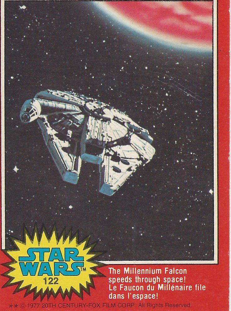 Star Wars The Millennium Falcon Speeds Through Space - Card 122 - 1977 - Front Side