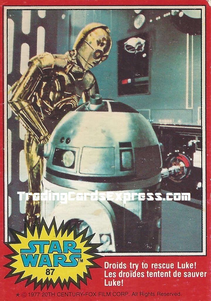 Star Wars - Droids Try To Rescue Luke - Card 87 - 1977 -Front Side