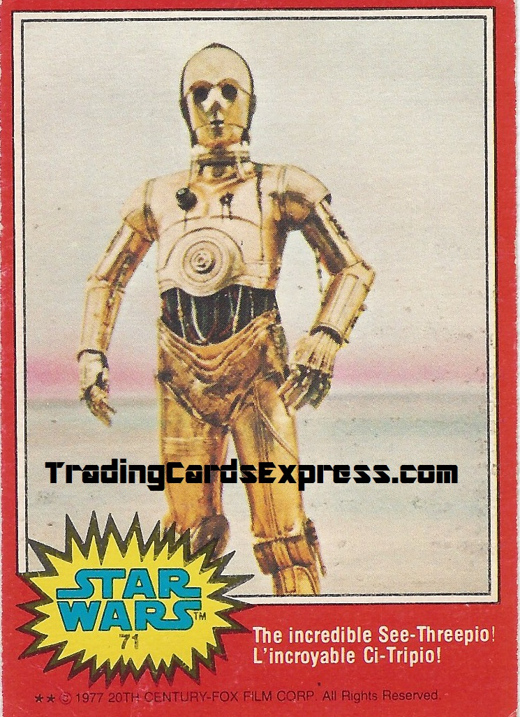 Star Wars - The Incredible See-Treepio - Card 71 - 1977 - Front Side