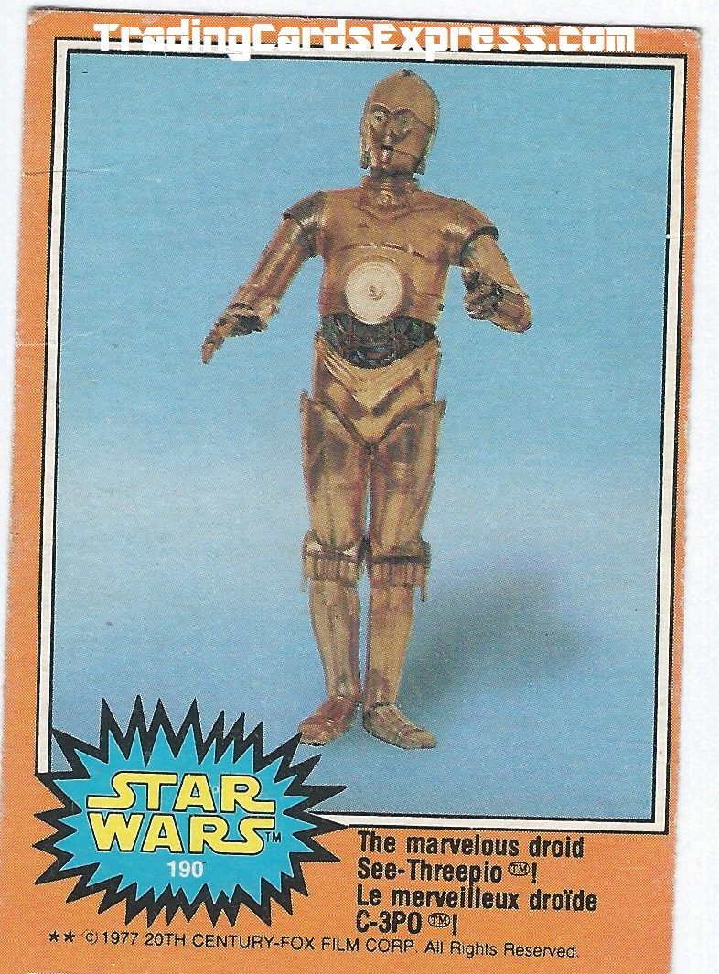 Star Wars - The Marvelous Droid See -Threepio - Card 190 - 1977 - Front Side