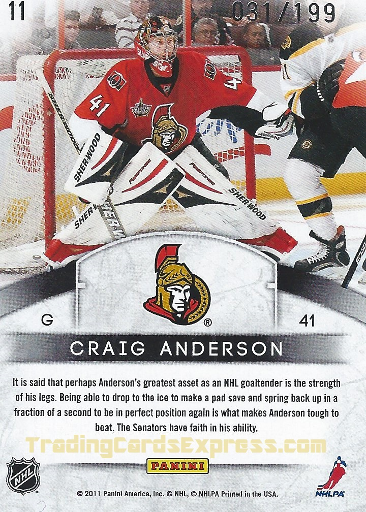 Craig Anderson - Card 11 - Panini Limited - 2011-2012 - Back