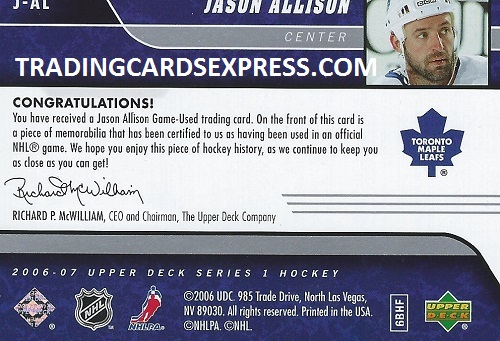 Jason Allison - Card J-AL - UD Series 1 - 2006-2007 - Back