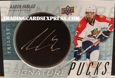 Aaron Ekblad Panthers 2016 2017 Upper Deck Trilogy Signature Pucks SP EK Front Side