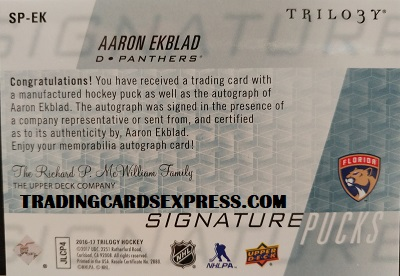 Aaron Ekblad Panthers 2016 2017 Upper Deck Trilogy Signature Pucks SP EK Side Back