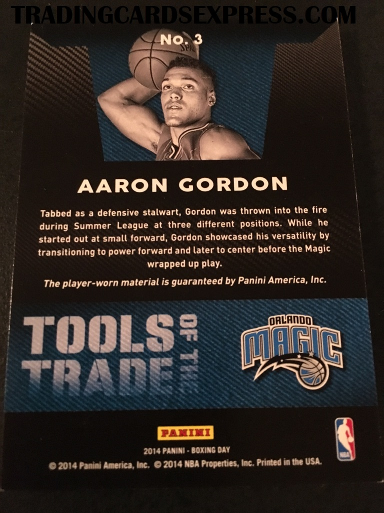 Aaron Gordon Magic 2014 Panini Boxing Day Tools Of The Trade Jersey Card 3 Back Side