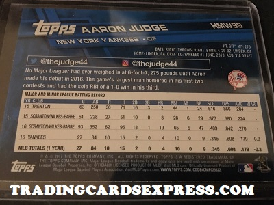 Aaron Judge Yankees 2017 Topps Walmart Holiday Rookie Card HMW99 Back Side