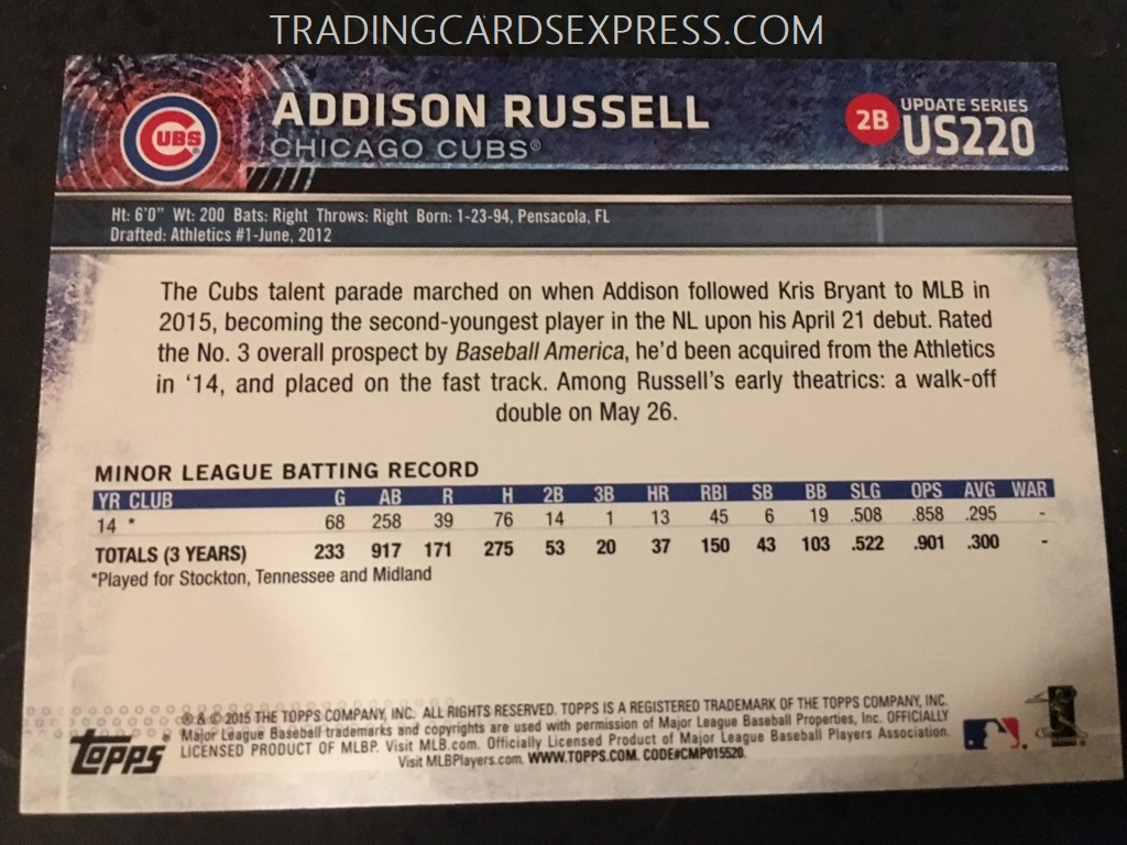 Addison Russell Cubs 2015 Topps Update Rookie Card US220 Back Side