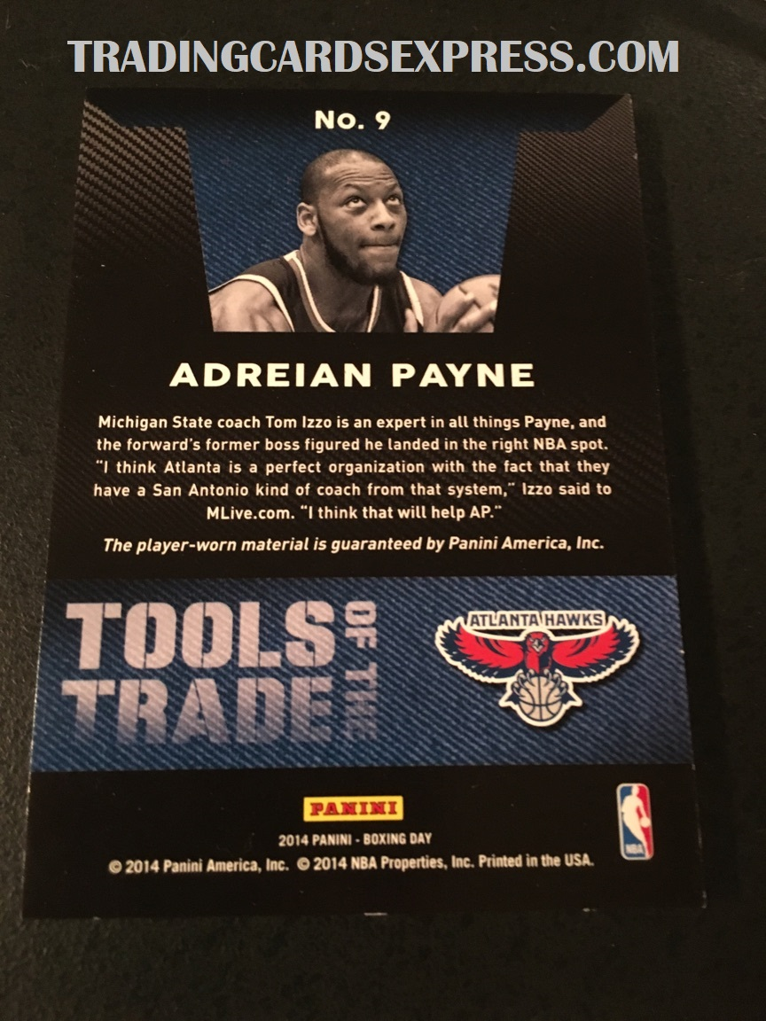 Adreian Payne Hawks 2014 Panini Boxing Day Tools Of The Trade Jersey Card 9 Back Side