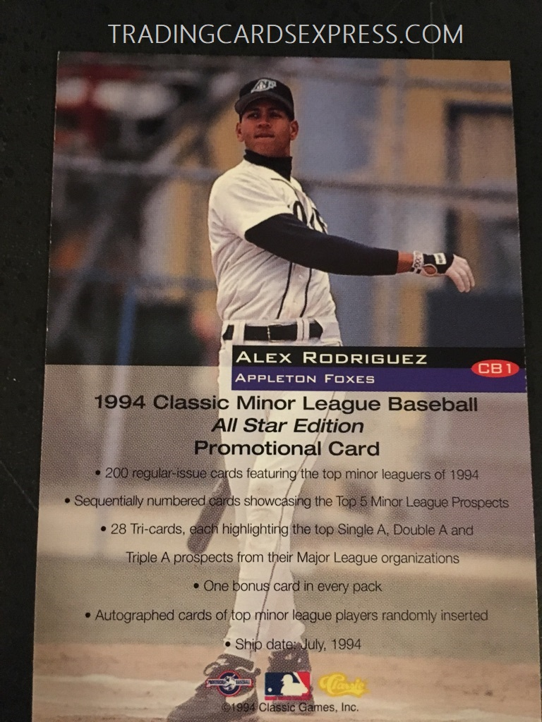 Alex Rodriquez Mariners 1994 Classic MILB Promotional Card Back Side