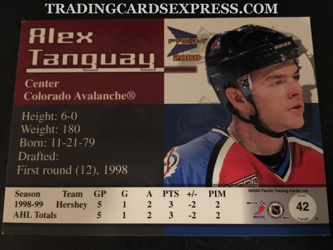 Alex Tanguay Avalanche 1999 2000 Pacific Prism Rookie Card 42 Back Side