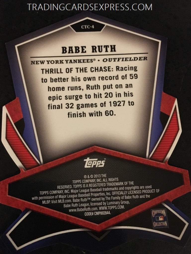 Babe Ruth Yankees 2013 Topps Cut To The Chase CTC4 Back Side