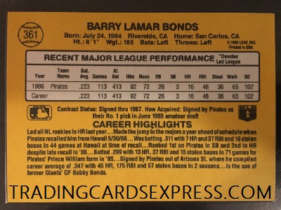 Barry Bonds Pirates 1987 Donruss Rookie Card 361 Trading