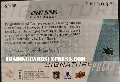 Brent Burns Sharks 2016 2017 Upper Deck Trilogy Signature Pucks Sp BB Back Side