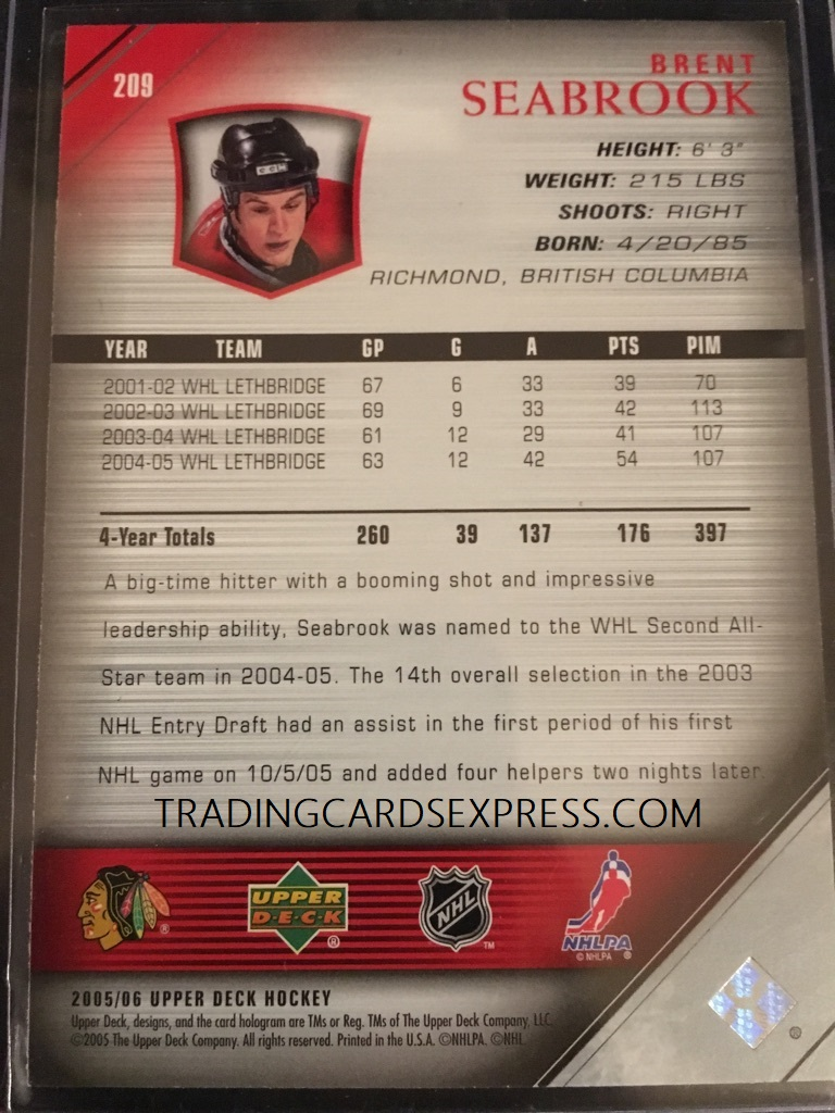 Brent Seabrook Blackhawks 2005 2006 Upper Deck Young Guns Rookie Card 209 Back Side