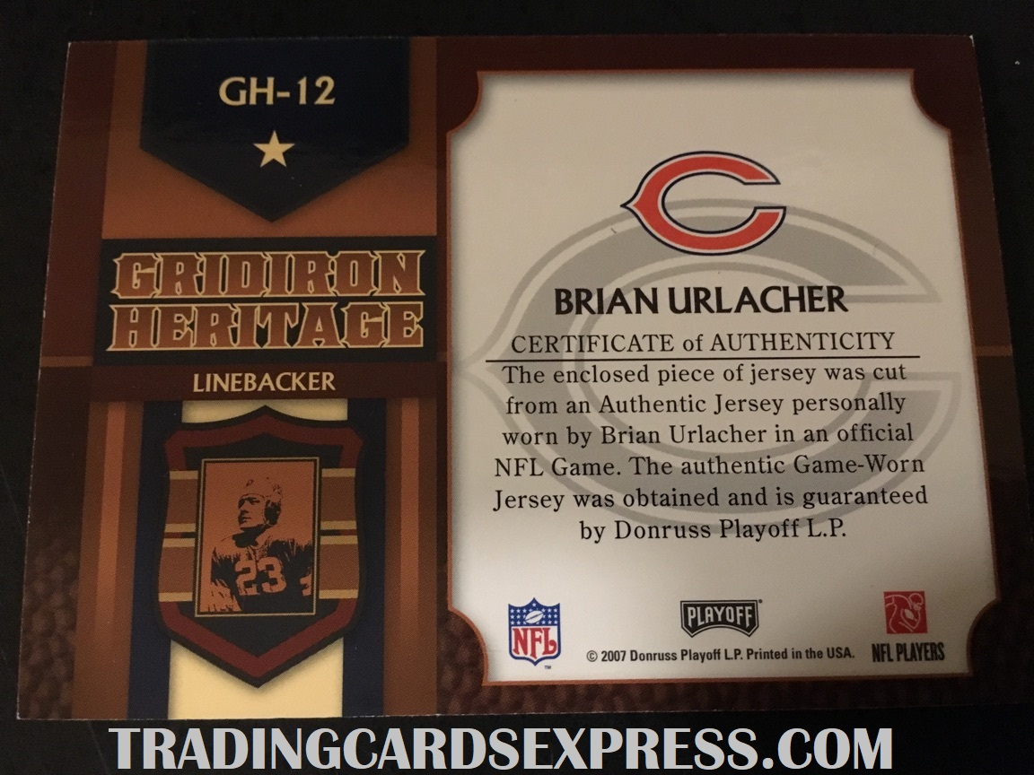 Brian Urlacher Bears 2007 Donruss Playoff Prestige Gridiron Heritage Jersey Card GH12 Back Side