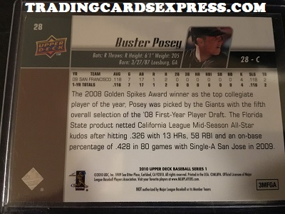 Buster Posey Giants 2010 Upper Deck Rookie Card 28 Back Side