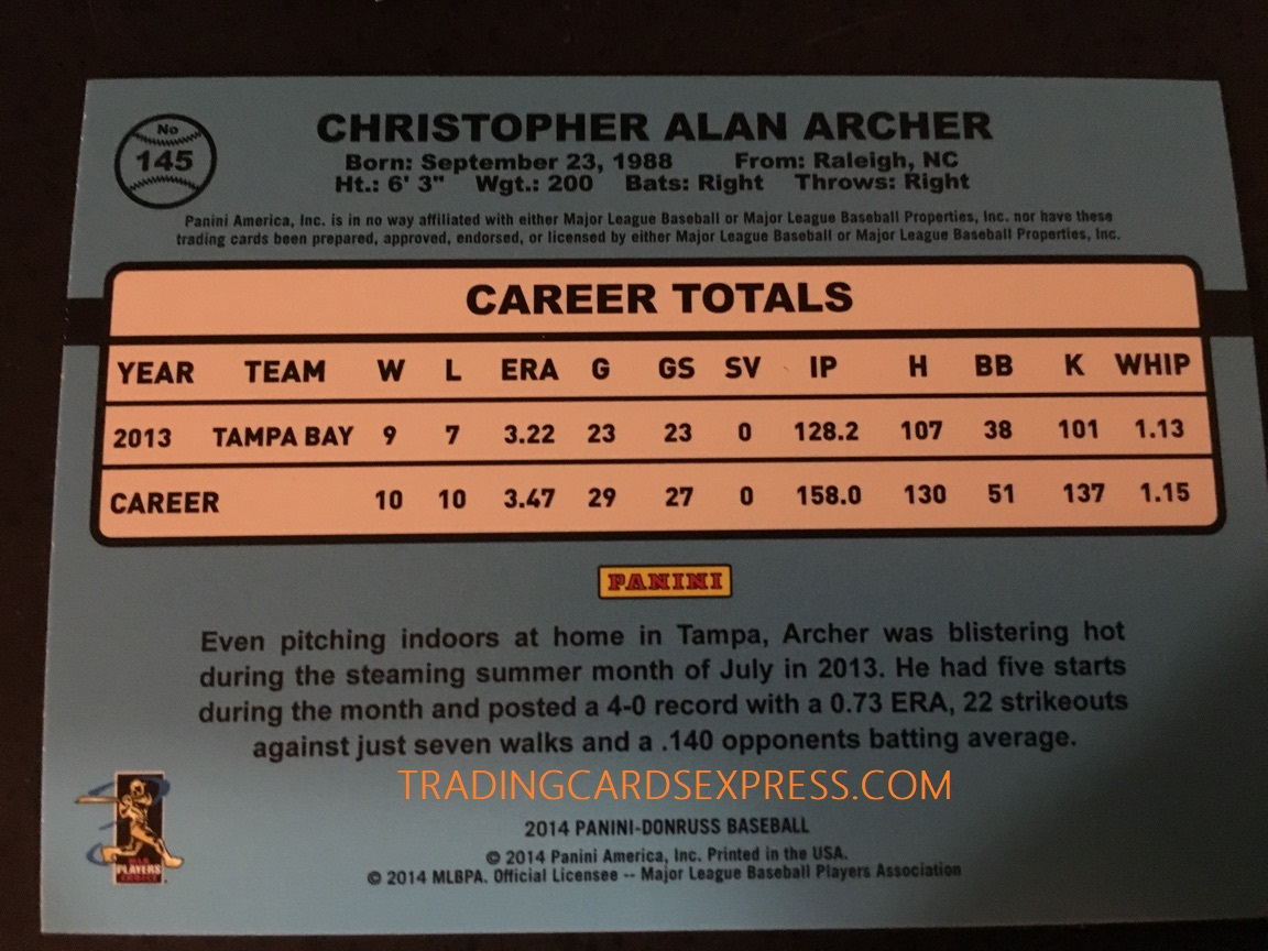 Chris Archer Rays 2014 Panini Donruss Rookie Card 145 Back Side