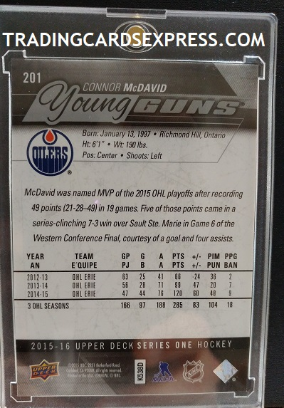 Connor McDavid Oilers 2015 2016 Upper Deck Young Guns Rookie 201 Back Side