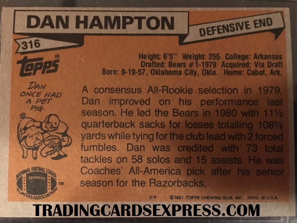 Dan Hampton Bears 1981 Topps Rookie Card 316 Back Side