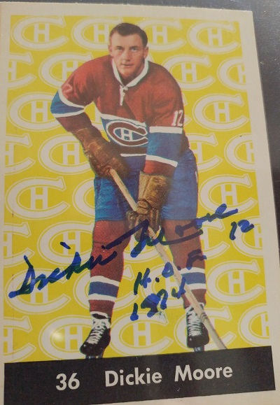 Dickie Moore Canadiens 1961 1962 Parkhurst 36 Autographed Front Side