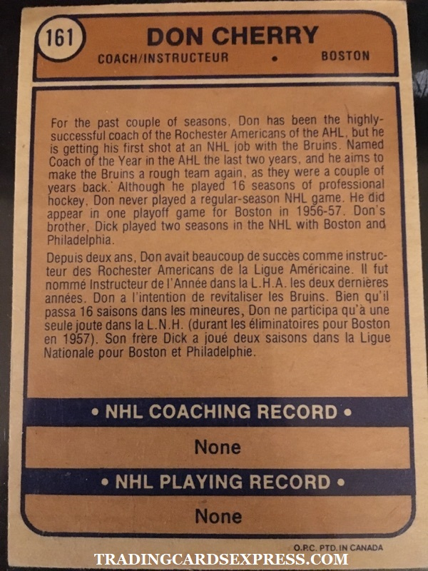 Don Cherry Bruins 1973 1974 O Pee Chee Rookie Card 161 Back Side