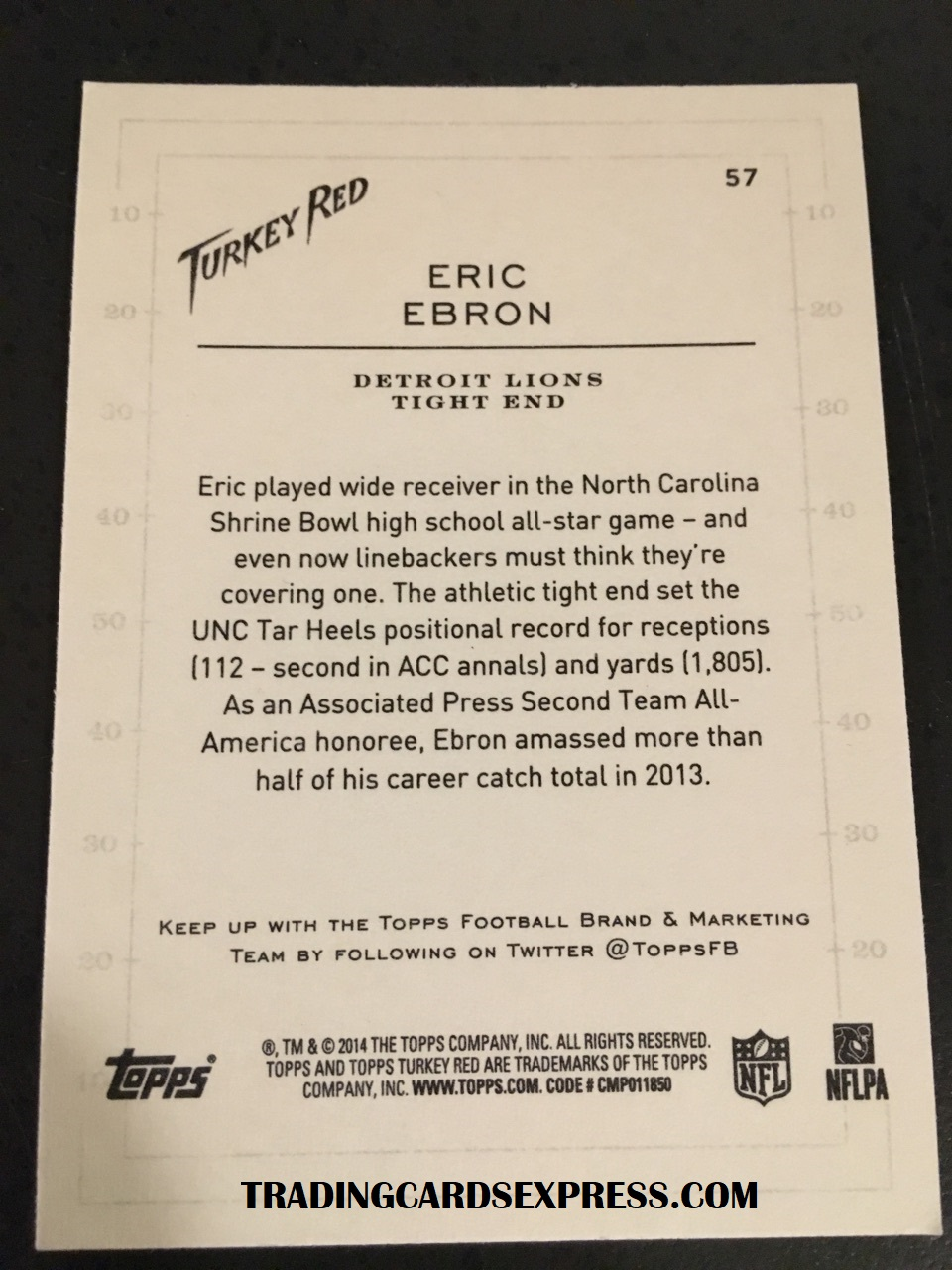 Eric Ebron Lions 2014 Topps Turkey Red Rookie Card 57 Back Side