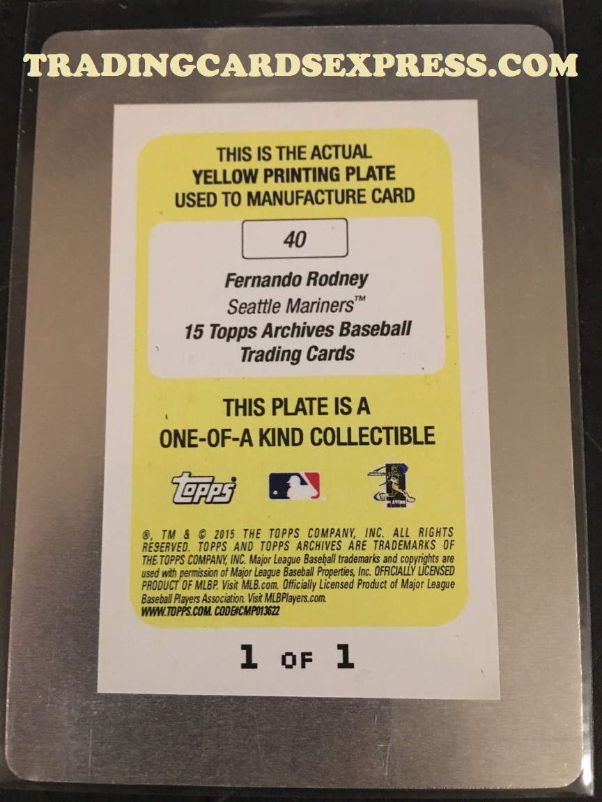 Fernando Rodney Mariners 2015 Topps Archives Yellow Printing Plate 40 1 1 Back Side