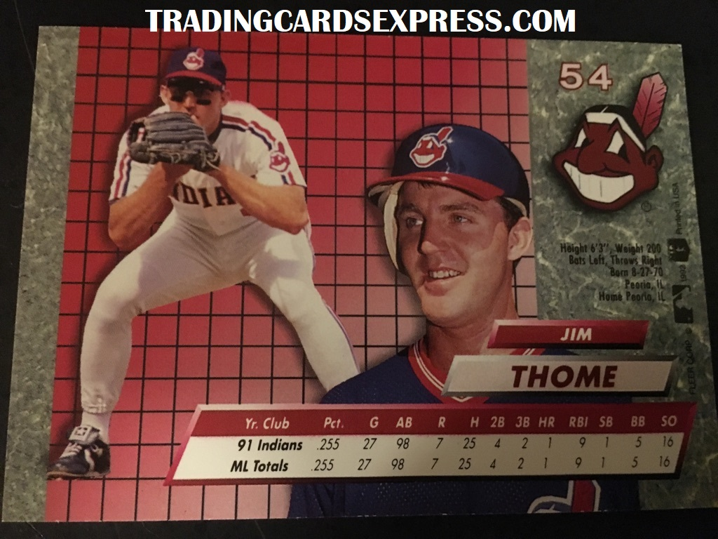 Jim Thome Indians 1992 Fleer Ultra Rookie Card 54 Back Side