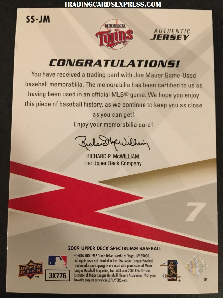 Joe Mauer Twins 2009 Upper Deck Spectrum Swatches SSJM Back Side