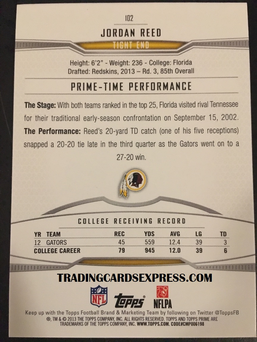 Jordan Reed Redskins 2013 Topps Prime Rookie Card 102 Back Side