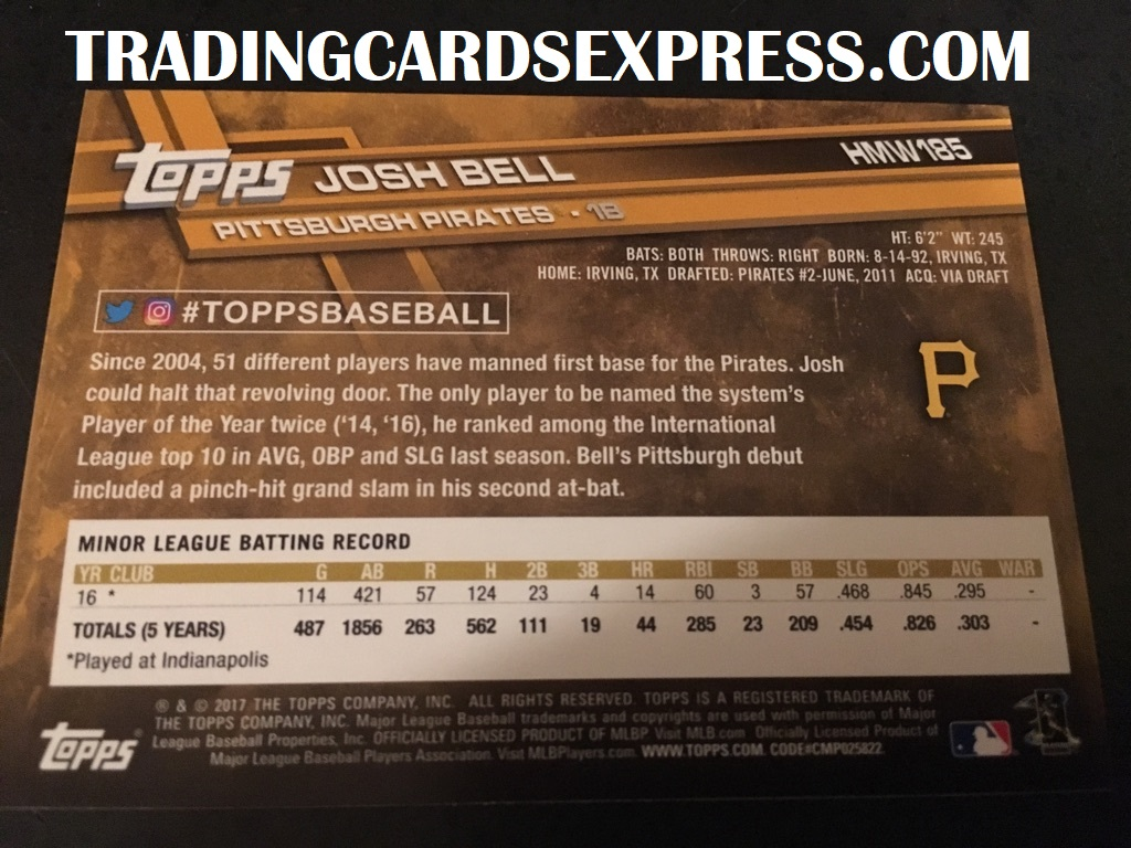 Josh Bell Pirates 2017 Topps Walmart Holiday Rookie Card HMW185 Back Side
