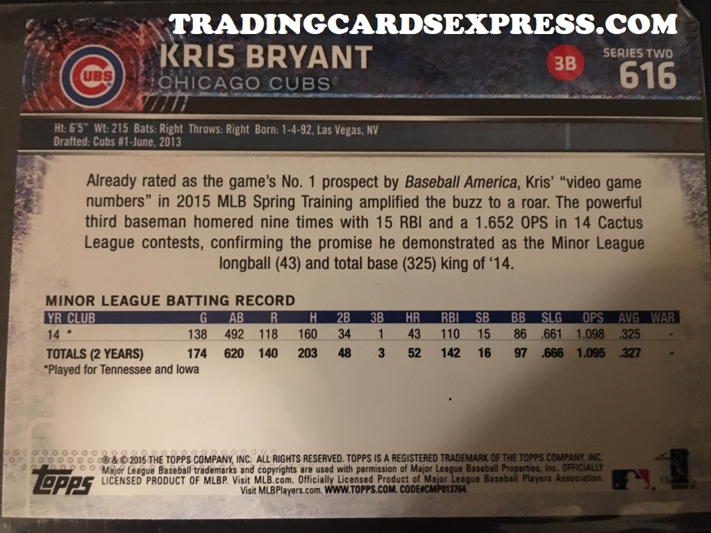 Kris Bryant Cubs 2015 Topps Series 2 Rookie Card 616 Back Side