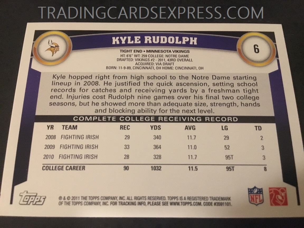 Kyle Rudolph Vikings 2011 Topps Rookie Card 6 Back Side
