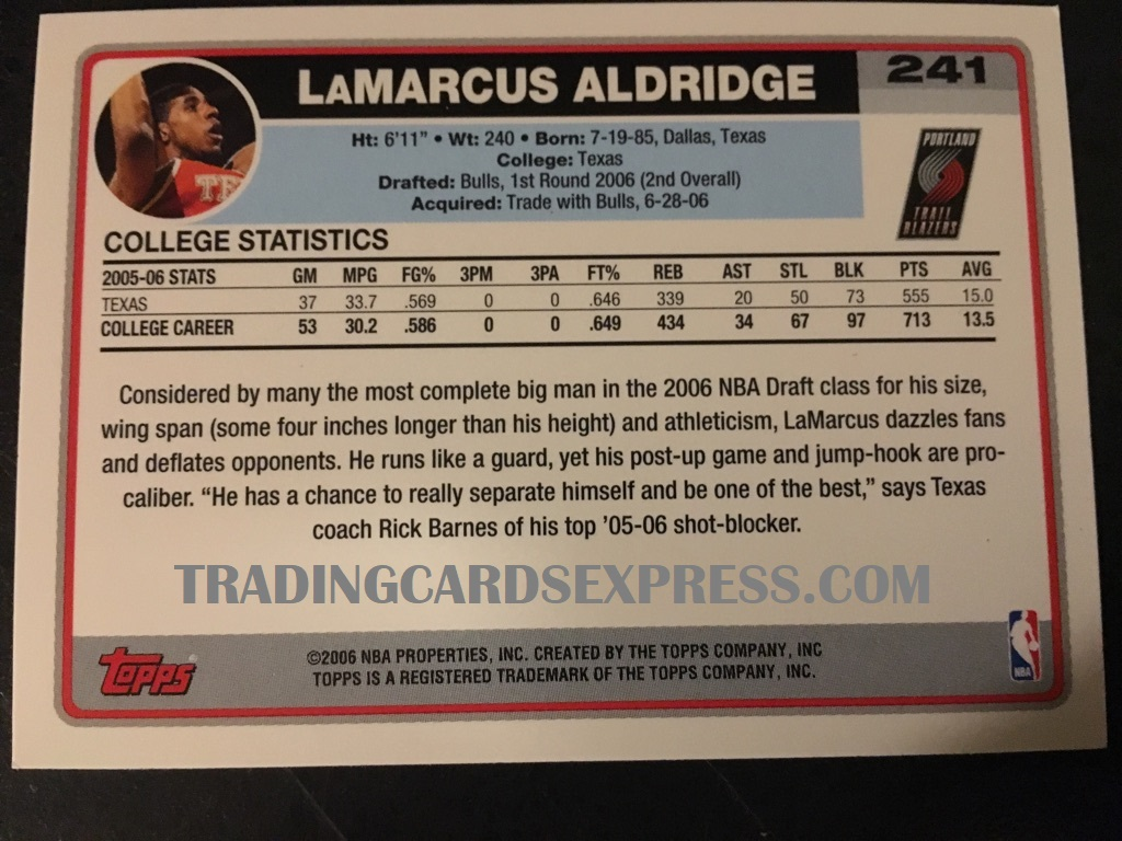 LaMarcus Aldridge Trail Blazers 2006 Topps Rookie Card 241 Back Side
