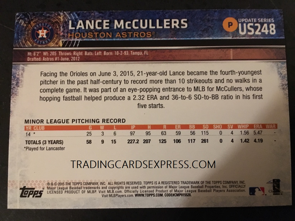 Lance McCullers Astors 2015 Topps Update Rookie Card US248 Back Side