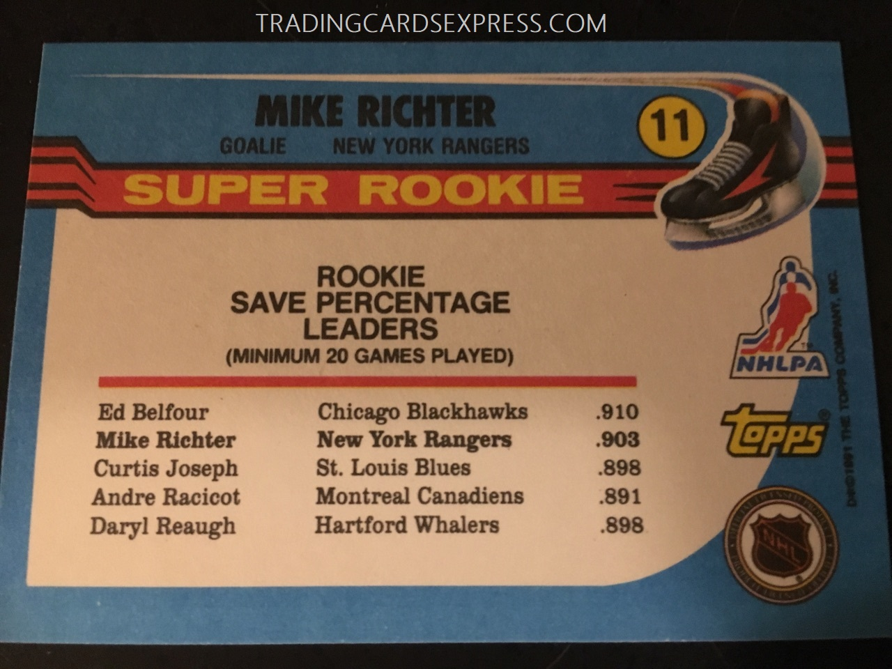 Mike Richter Rangers 1990 1991 Topps Super Rookie Card 11 Back Side