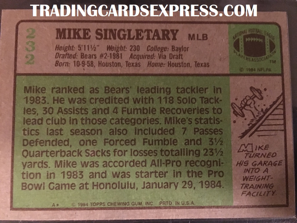 Mike Singletary Bears 1984 Topps NFC Pro Bowl 232 Back Side