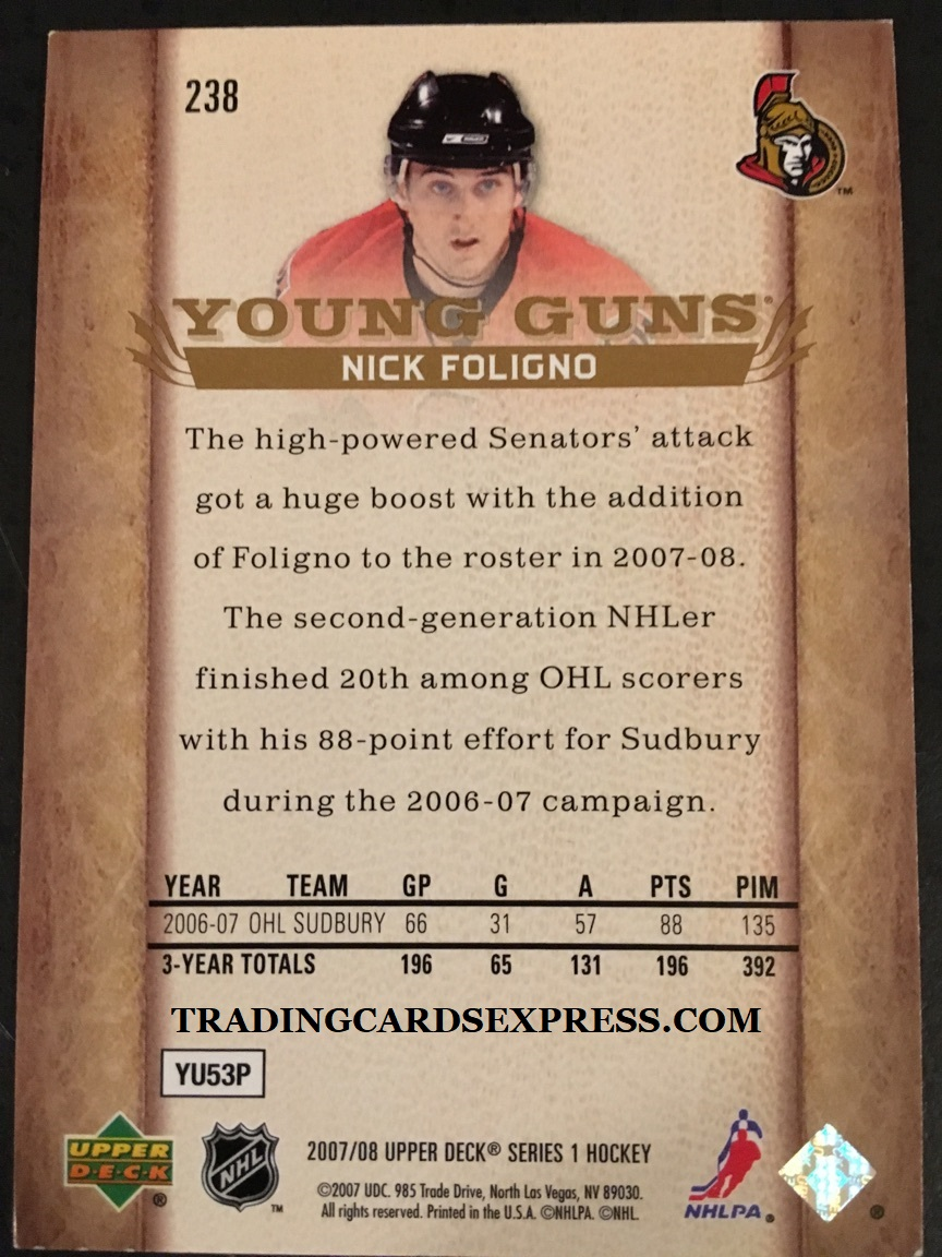 Nick Foligno Senators 2007 2008 Upper Deck Young Guns Rookie Card 238 Back Side
