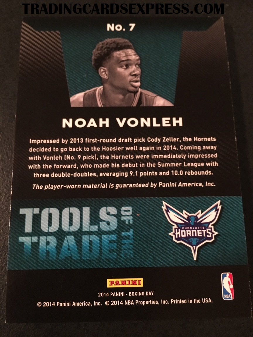 Noah Vonleh Hornets 2014 Panini Boxing Day Tools Of The Trade Jersey Card 7 Back Side