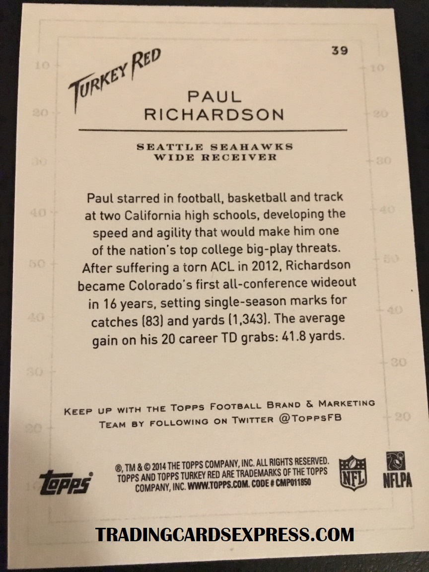 Paul Richardson Seahawks 2014 Topps Turkey Red Rookie Card 39 Back Side