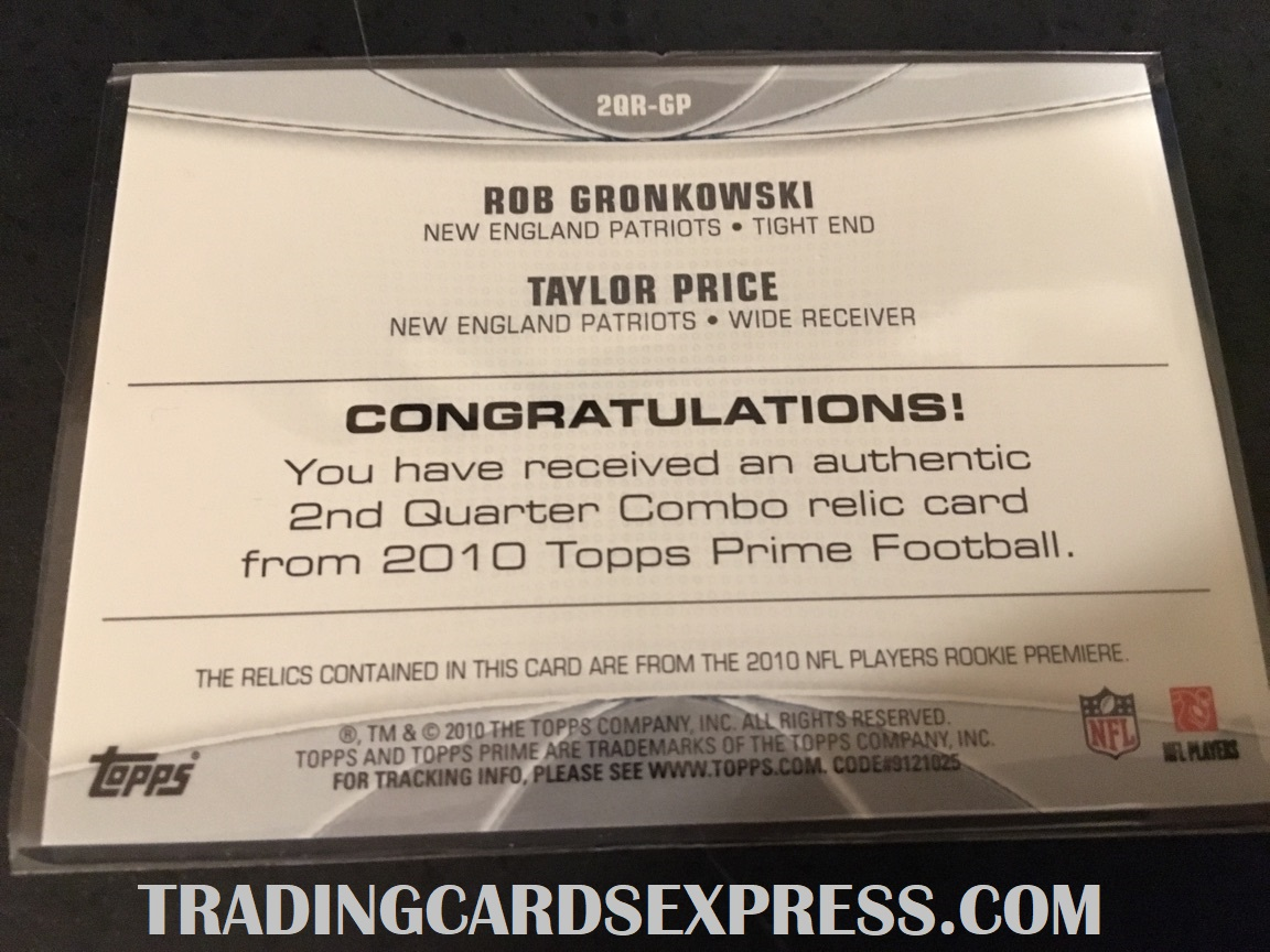 Rob Gronkowski And Taylor Price Patriots 2010 Topps Prime Jersey Rookie Card 2QRGP Back Side