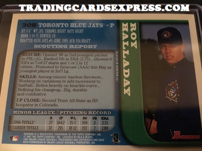 Roy Halladay Blue Jays 1997 Bowman Rookie Card 308 Back Side